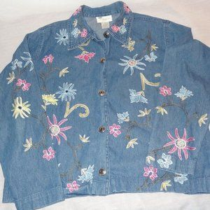 Studio Works Denim Jacket Embroidered Flowers Sz S